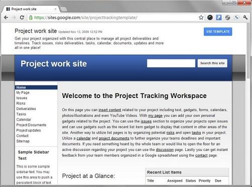 Home page del sito di progetto