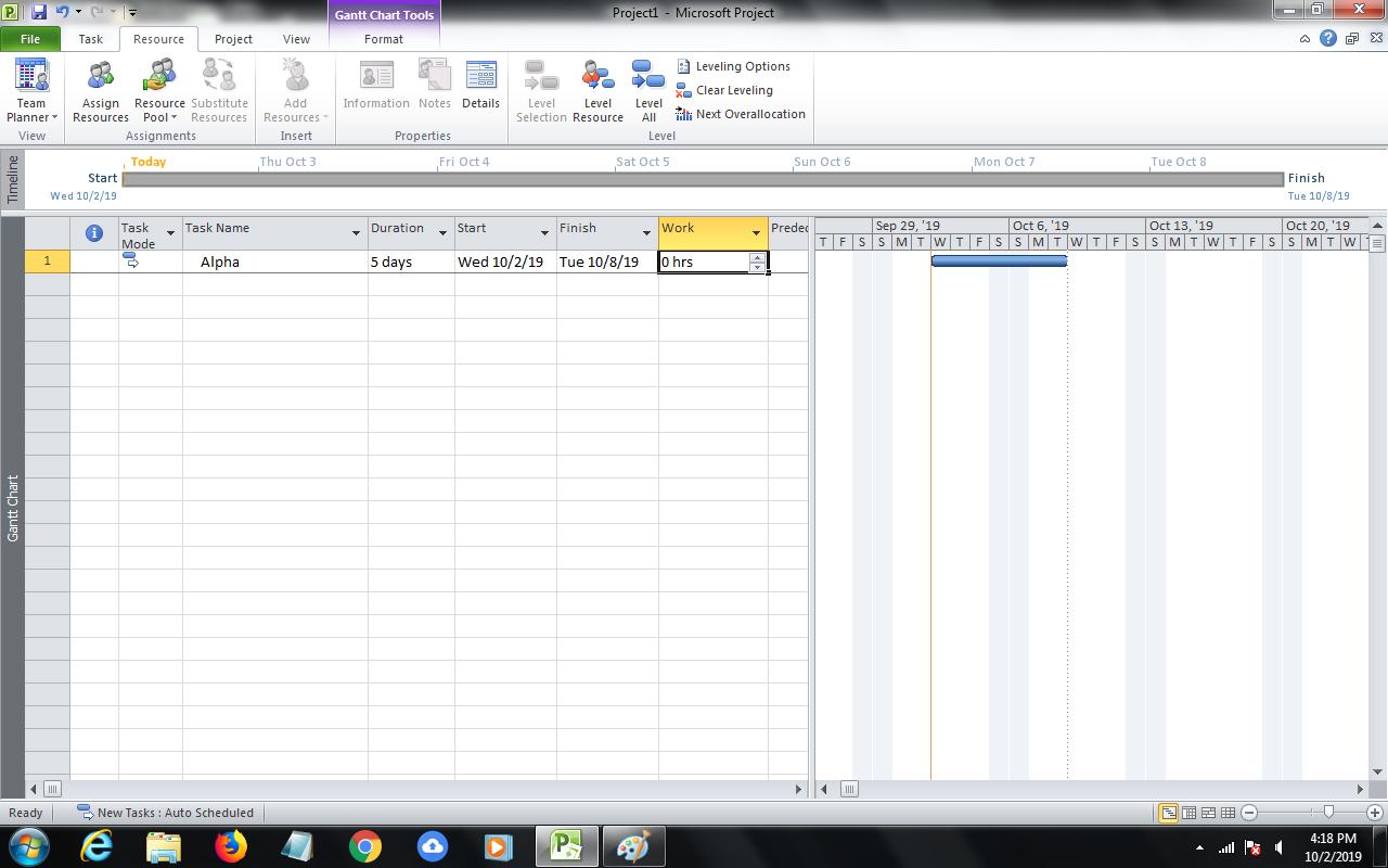 creazione attività ms project