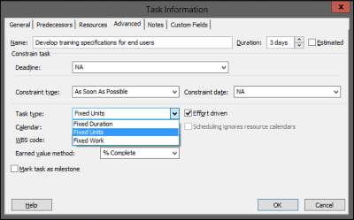 tipologia attività Microsoft Project